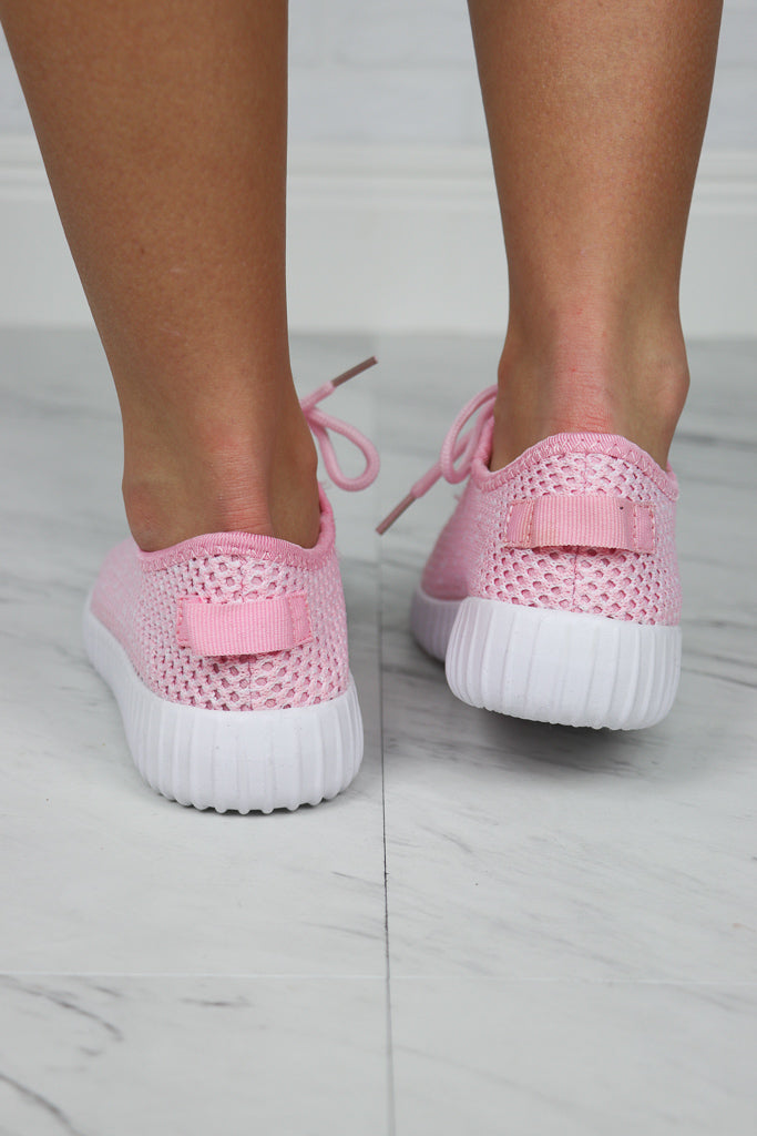 Pink Mesh Detail Lace Up Sneakers - FINAL SALE - Madison and Mallory