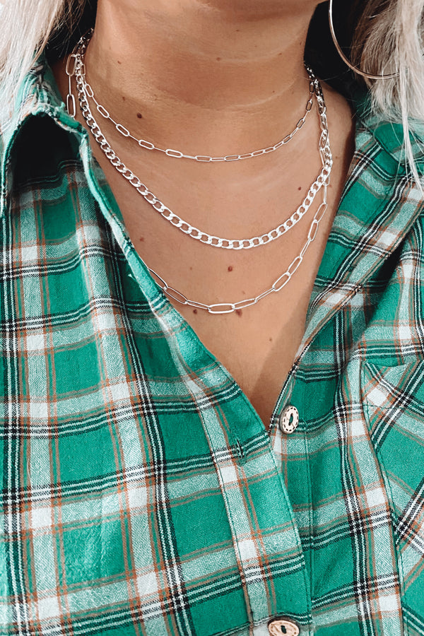 Silver Forever Linked Layered Chain Necklace - Madison and Mallory