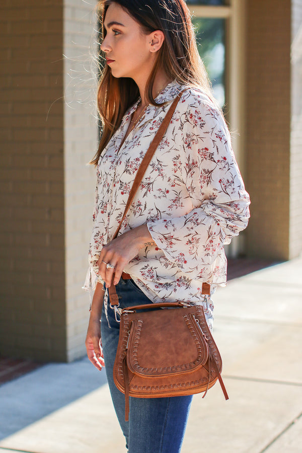 Khloe Whipstitch Crossbody Bag - Tan - Madison + Mallory