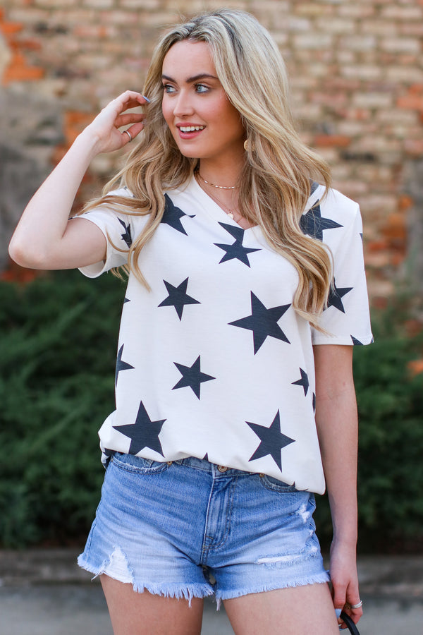 S / Black Follow the Stars Print Top - Madison and Mallory