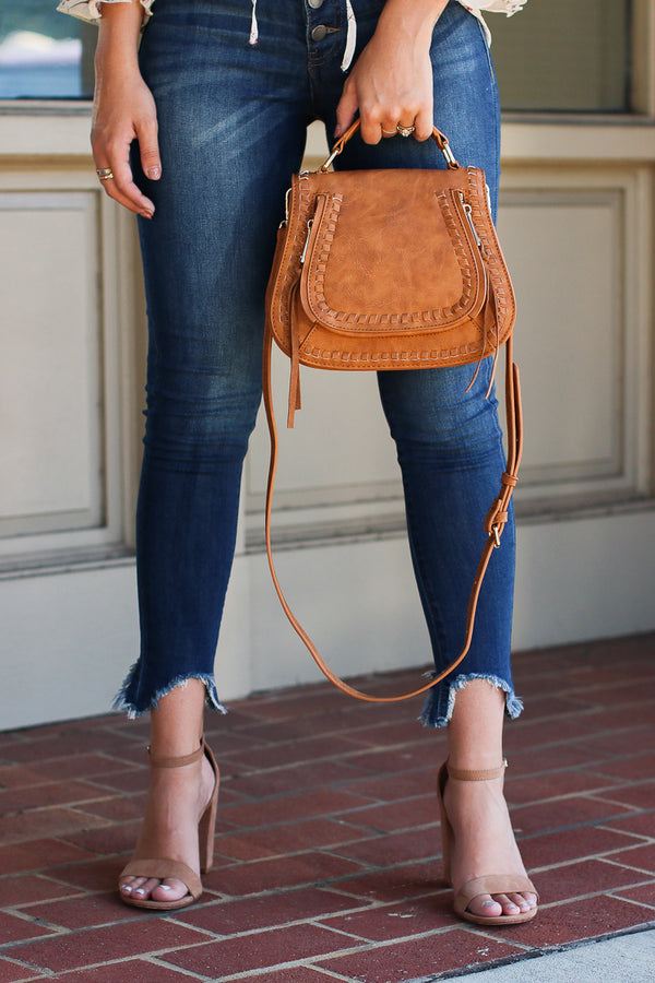 Tan Khloe Whipstitch Crossbody Bag - Tan - Madison + Mallory