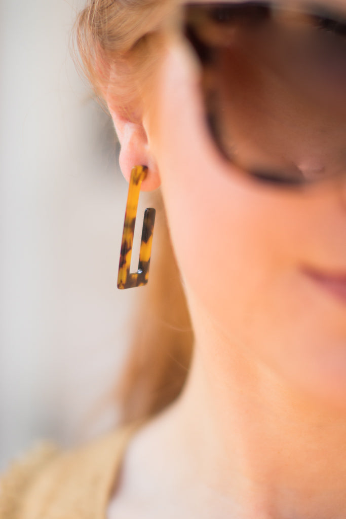 OS / Tortoise Eye of the Tiger Earrings - Madison + Mallory