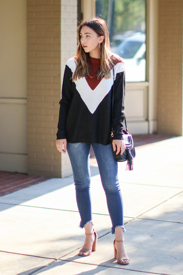 Right to You Chevron Knit Sweater - Madison + Mallory