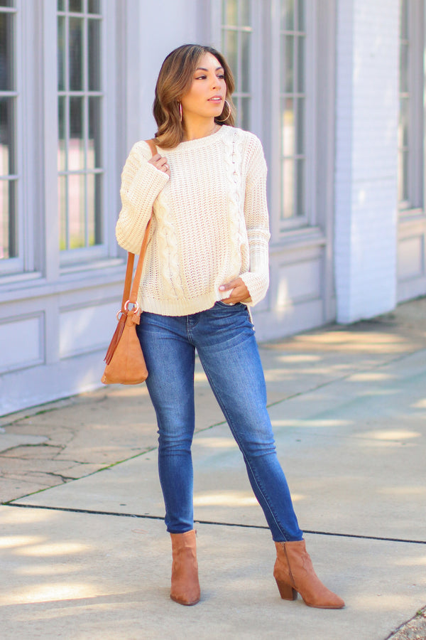 Tabloid Cable Knit Sweater - Ivory - Madison and Mallory