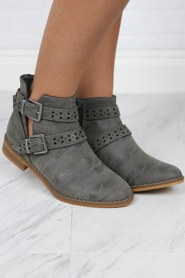 6 / Grey Mack Buckle Bootie - FINAL SALE - Madison + Mallory