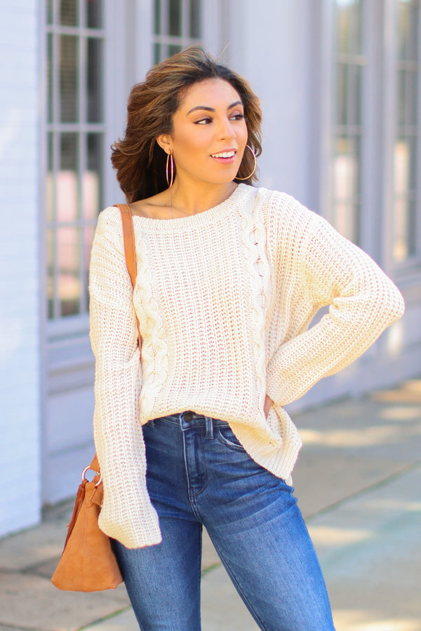 Ivory / SM Tabloid Cable Knit Sweater - Ivory - FINAL SALE - Madison and Mallory