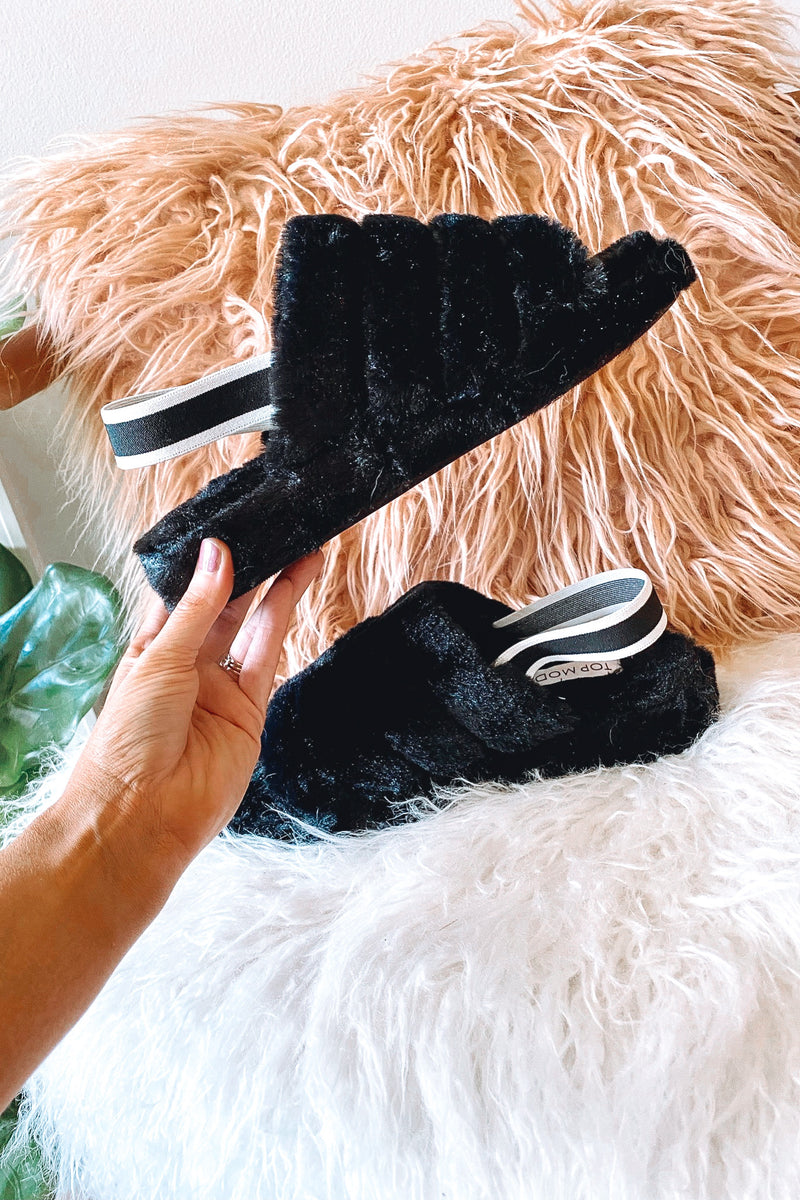 Stay in Bed Faux Fur Elastic Back Slippers - Madison and Mallory