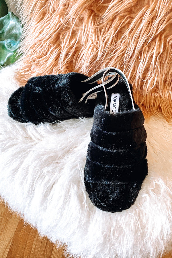 Black / 6 Stay in Bed Faux Fur Elastic Back Slippers - Madison and Mallory