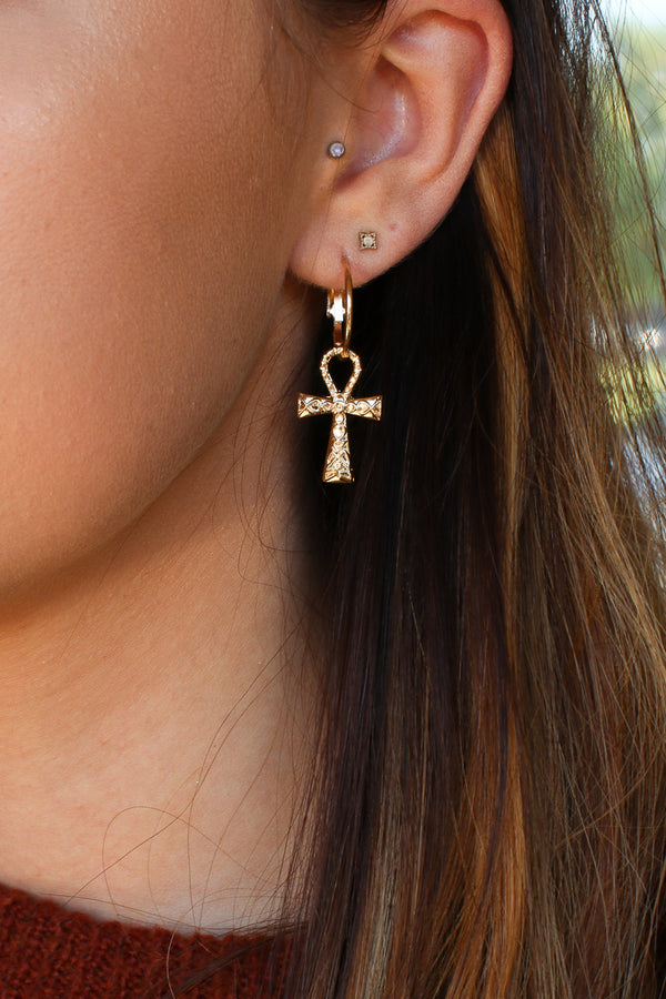 Gold Life Cross Ankh Hoop Earrings - Madison + Mallory