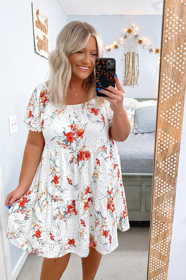 S / Off White Steal a Kiss Floral Print Eyelet Tiered Dress - Madison and Mallory