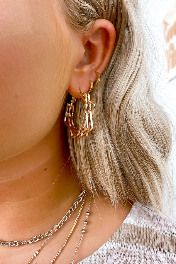 Gold Show Me the Way Geometric Hoop Earrings - Madison and Mallory
