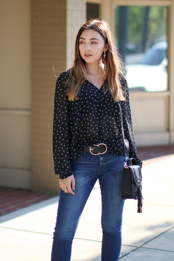 S / Black Seattle Printed Button Down Top - Madison + Mallory