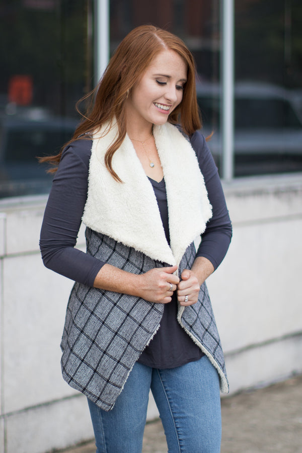 S / Black All You Wanted Plaid Vest - Madison + Mallory