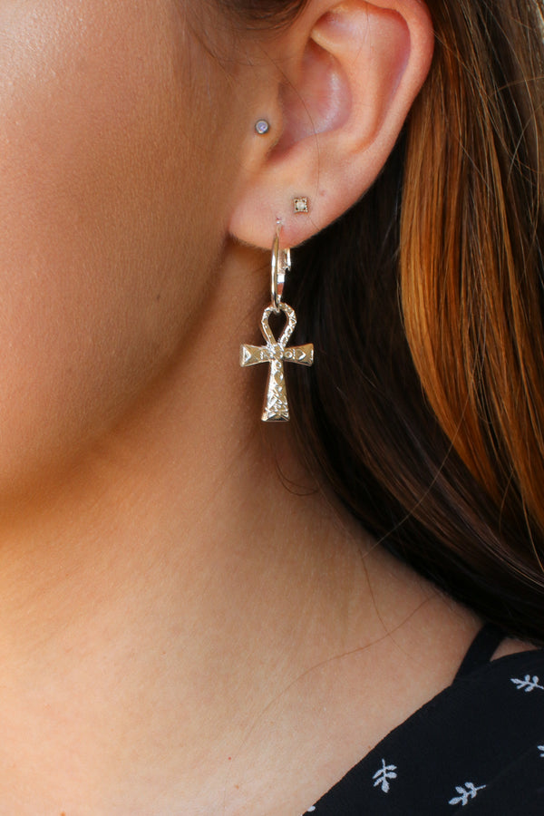 Silver Life Cross Ankh Hoop Earrings - Madison + Mallory