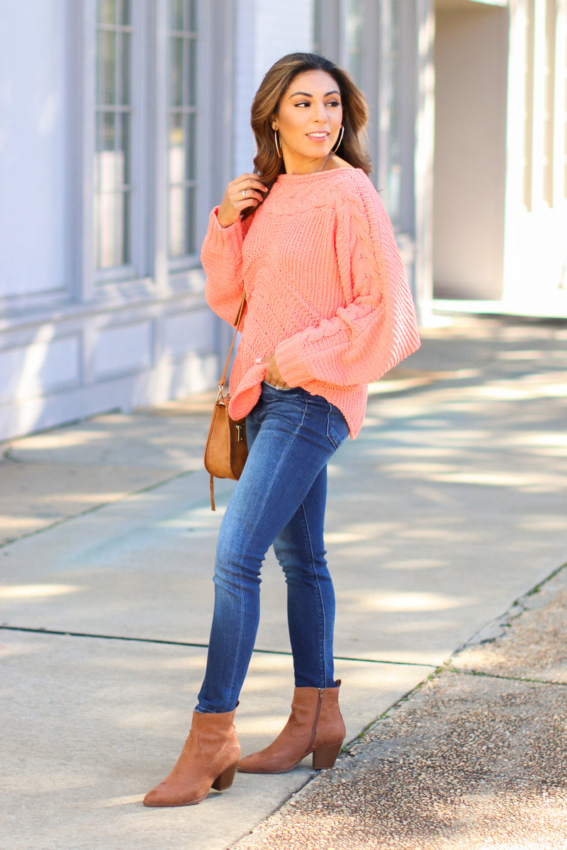 Ready, Willing and Cable Knit Sweater - FINAL SALE - Madison and Mallory
