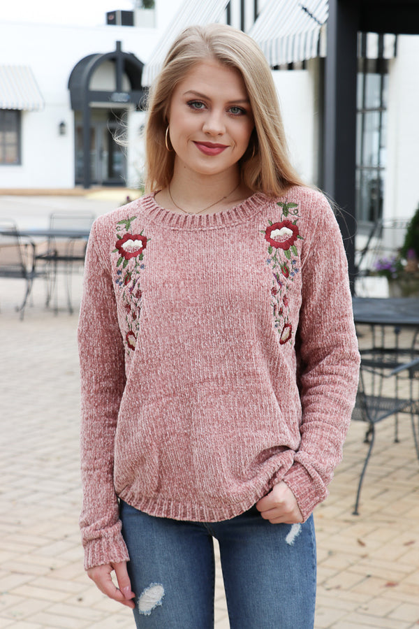 S / Dusty Rose Embroidered Chenille Sweater - Madison + Mallory