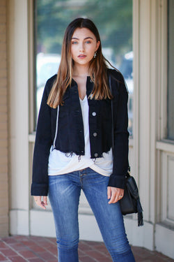 S / Black Stenson Raw Cut Denim Jacket - Black - Madison + Mallory