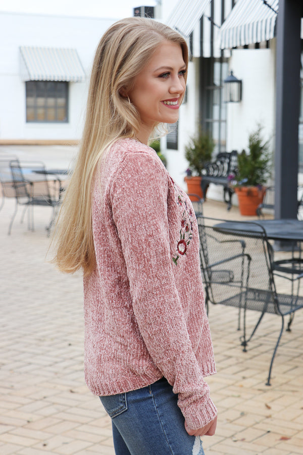 Embroidered Chenille Sweater - Madison + Mallory