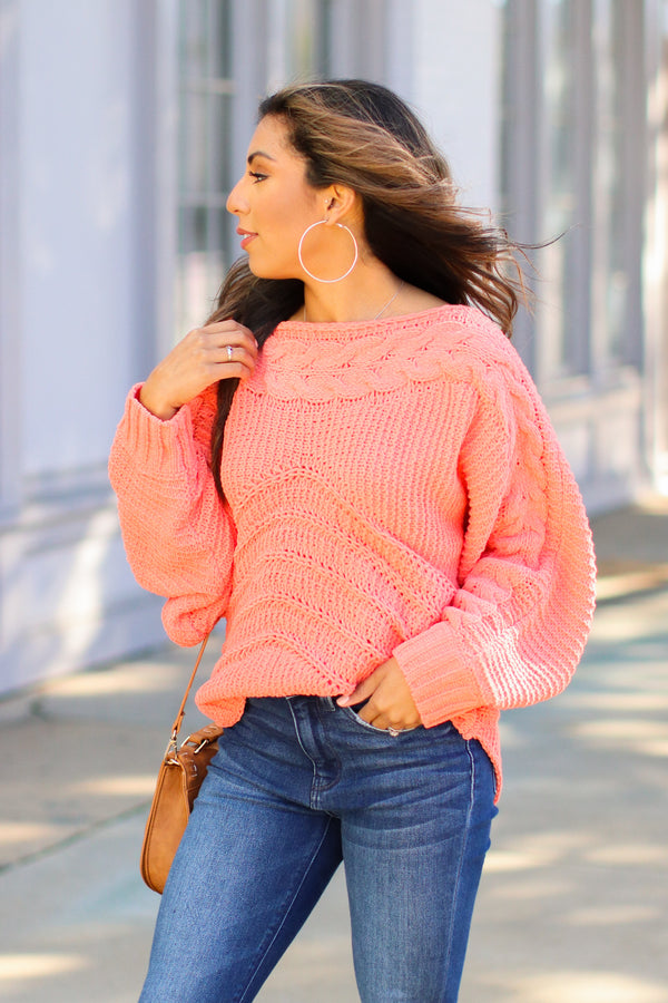 S / Coral Ready, Willing and Cable Knit Sweater - FINAL SALE - Madison and Mallory