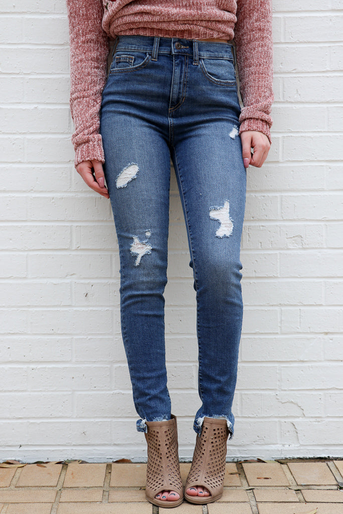 1 / Dark Denim Mia Skinny Jeans - FINAL SALE - Madison + Mallory