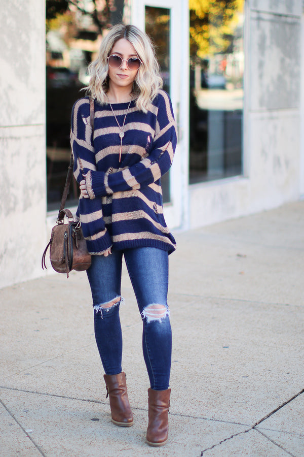 Busy Schedule Striped Knit Sweater - Madison + Mallory