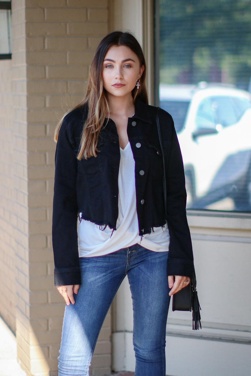 Stenson Raw Cut Denim Jacket - Black - Madison + Mallory