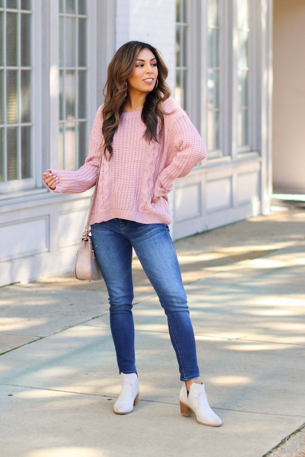 Tabloid Cable Knit Sweater - Lilac - Madison + Mallory