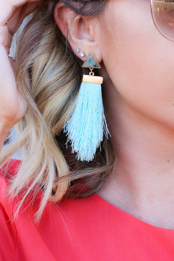 OS / Mint Antonia Marble Tassel Earrings + MORE COLORS - Madison + Mallory