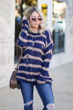 SM / Navy Busy Schedule Striped Knit Sweater - Madison + Mallory
