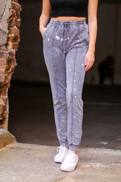 S / Ash Callback Bleach Splatter Joggers - Madison and Mallory