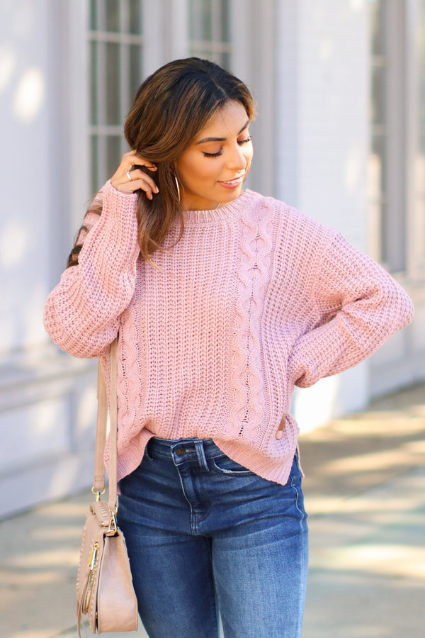 Lilac / SM Tabloid Cable Knit Sweater - Lilac - Madison + Mallory