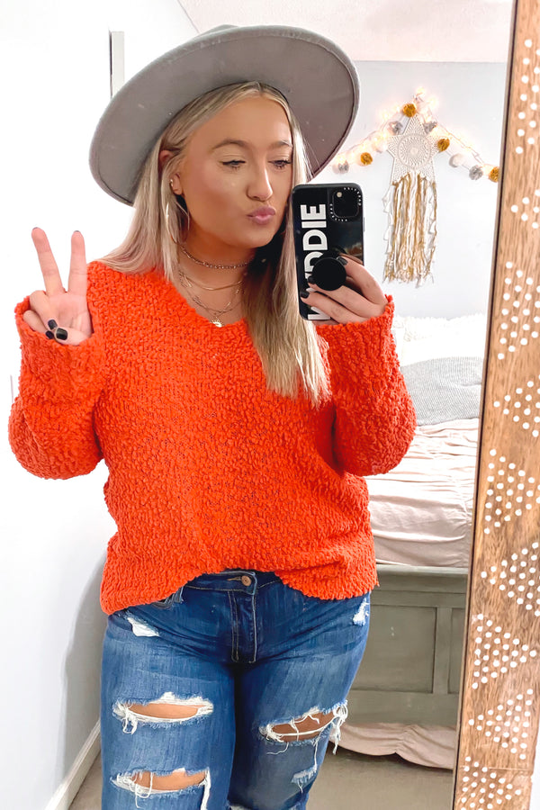 SM / Orange Tobi Popcorn V-Neck Sweater - Madison and Mallory