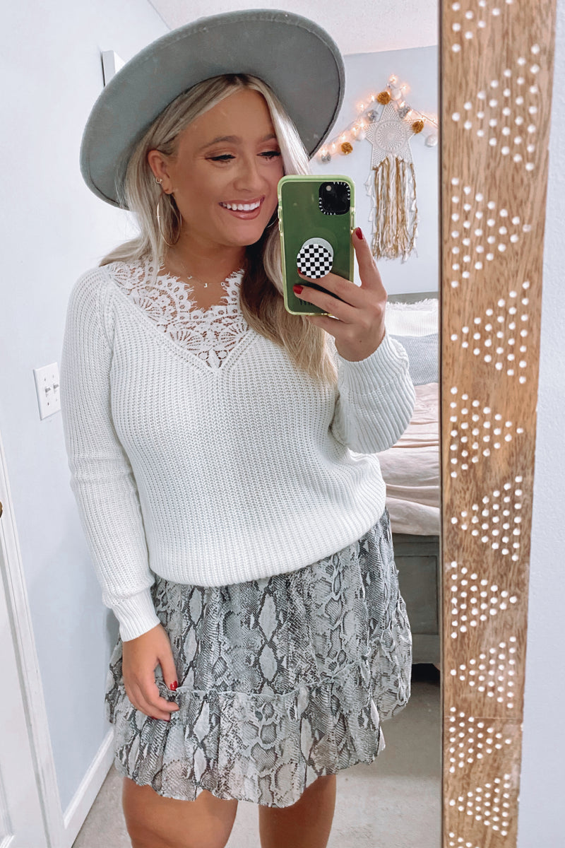 Chic Observations Lace Accent Sweater - Madison and Mallory