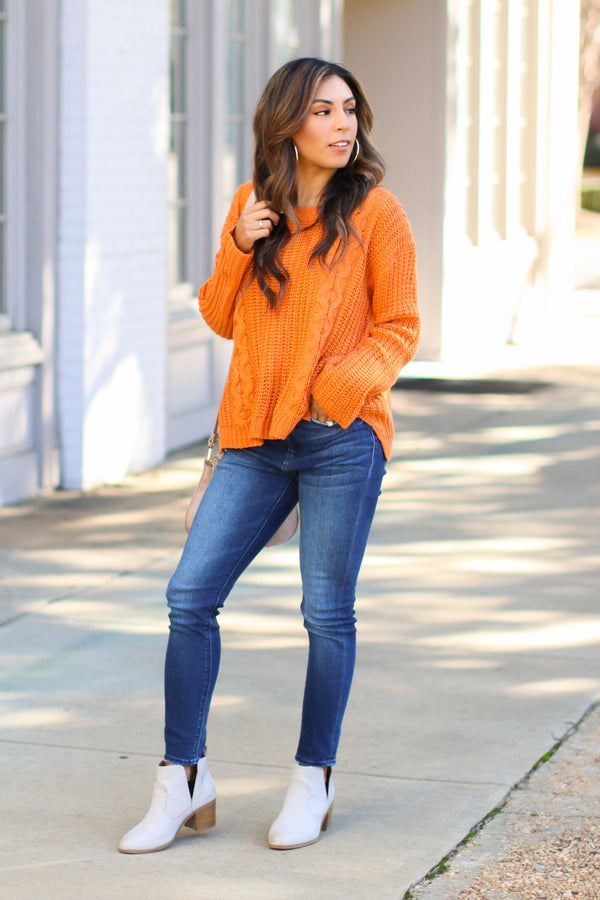 Tabloid Cable Knit Sweater - Ginger - Madison + Mallory