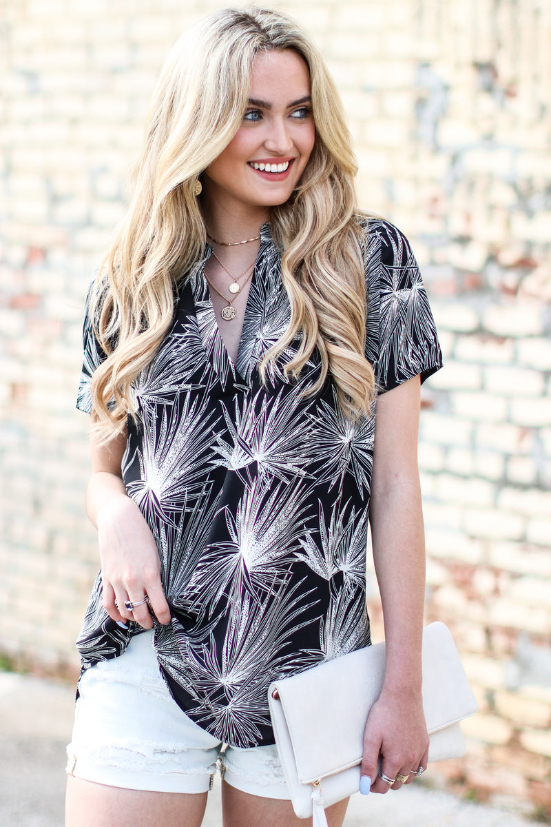 Islands in the Stream Printed Top - Dusty Blue - Madison and Mallory