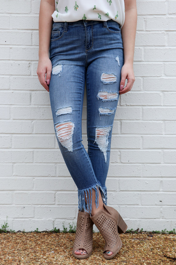 1 / Dark Blue Aria Fringe Skinnies - Madison + Mallory