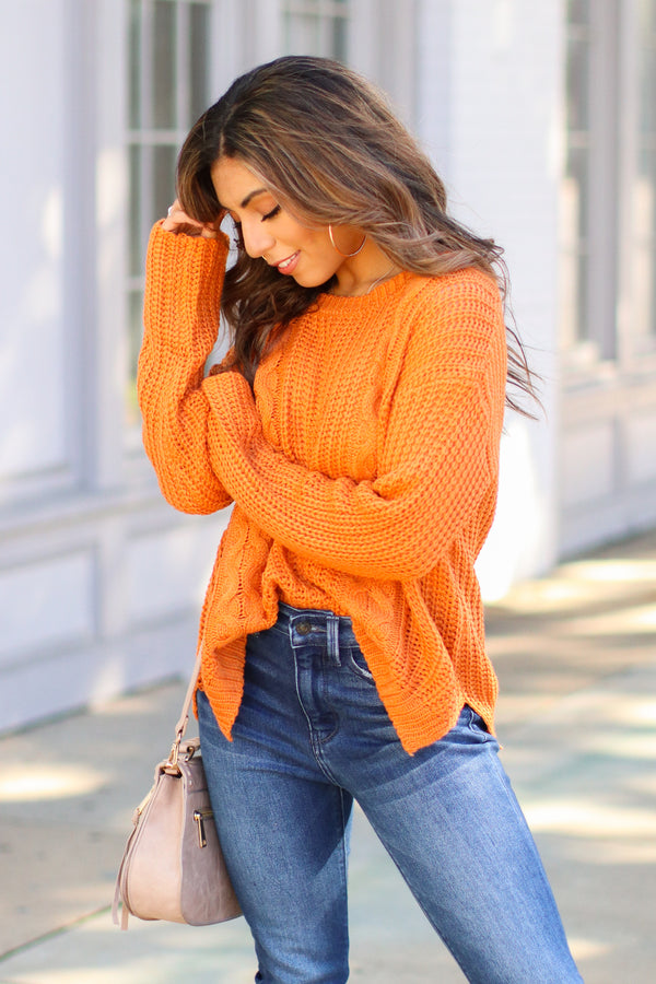 Ginger / SM Tabloid Cable Knit Sweater - Ginger - Madison + Mallory