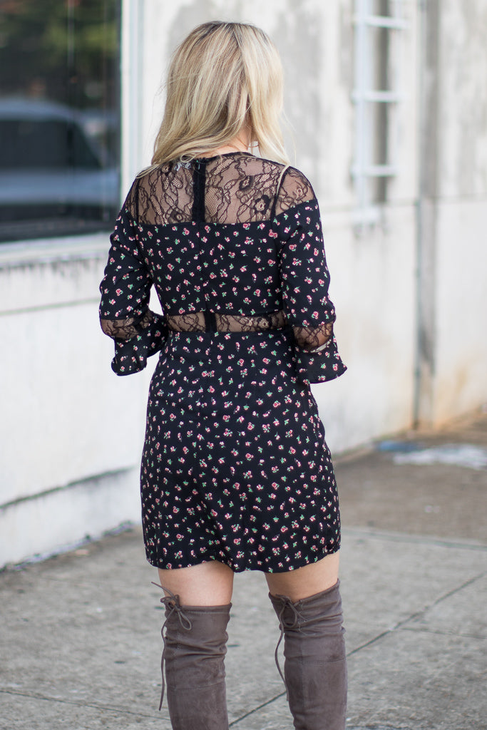 Lace Panel Floral Dress - Madison + Mallory