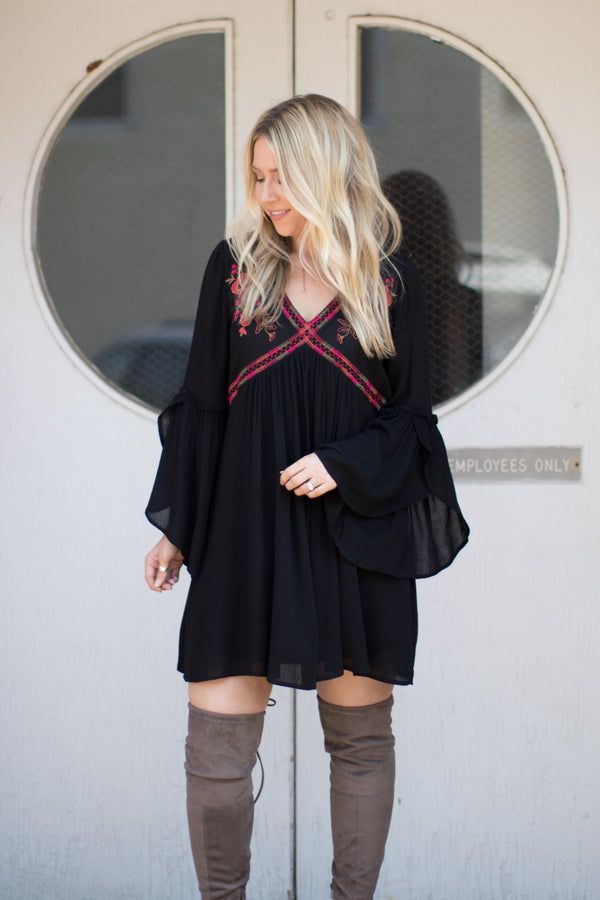 S / Black Floral Embroidered Bell Sleeve Dress - Madison + Mallory