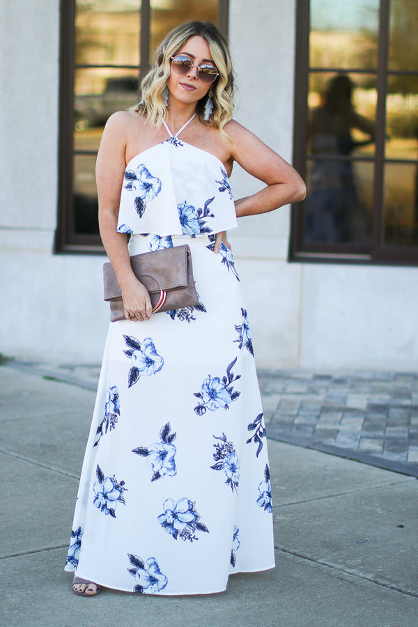 S / White Wonderful World Floral Halter Maxi Dress - Madison + Mallory