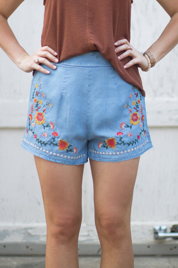 S / Chambray Alisa Embroidered Shorts - Madison + Mallory