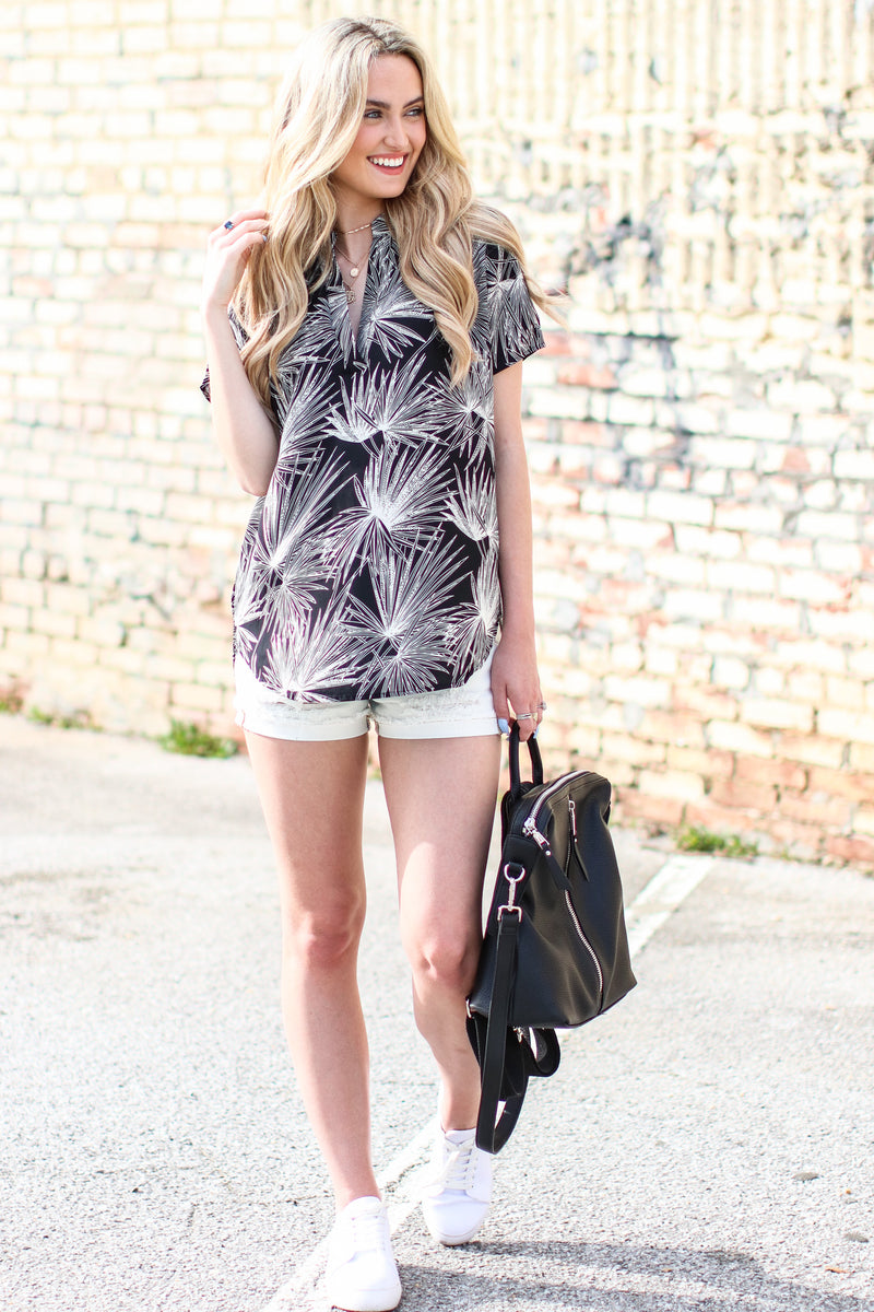 Islands in the Stream Printed Top - Black - FINAL SALE - Madison and Mallory