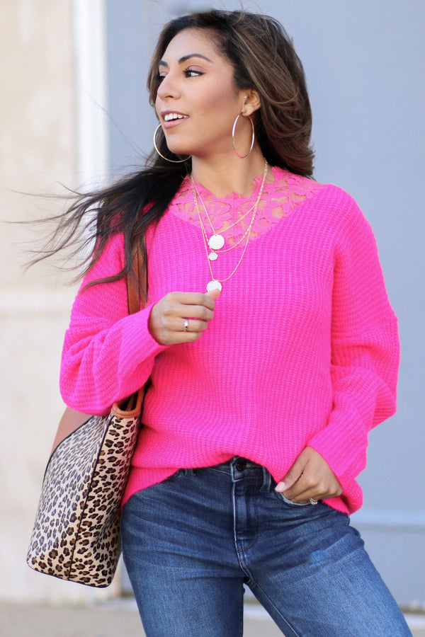 S / Fuchsia Major Compliments Lace Accent Sweater - Madison + Mallory
