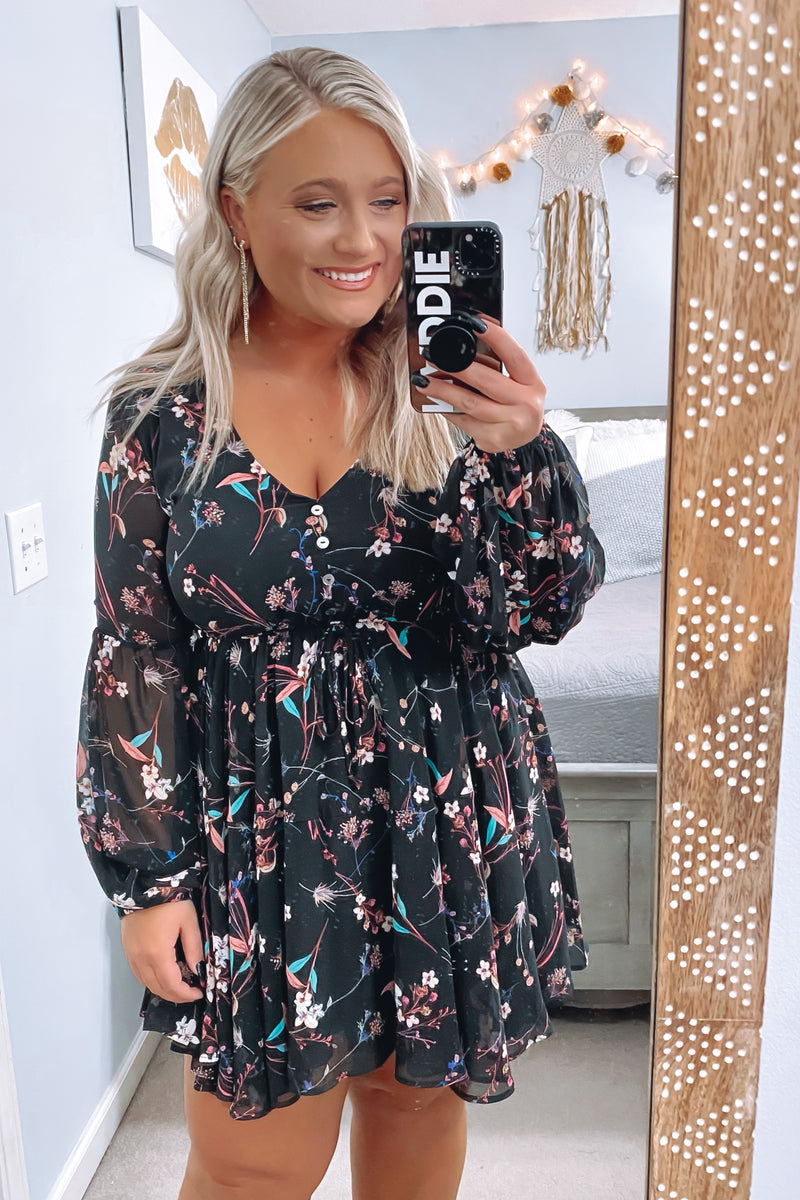 S / Black Freelance Dreamer Floral Print Dress - Madison and Mallory
