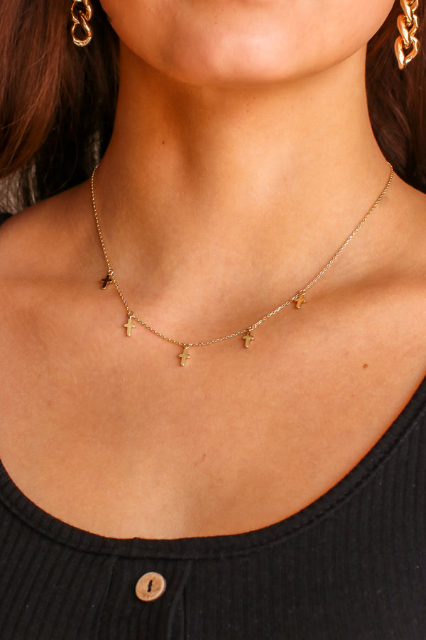 Gold Always Admiring Cross Charm Necklace - Madison and Mallory
