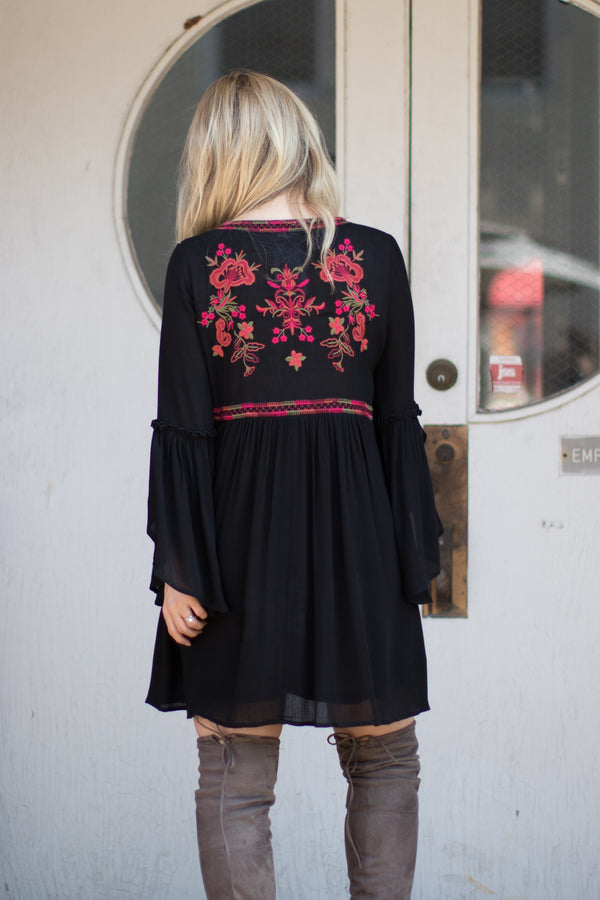 Floral Embroidered Bell Sleeve Dress - Madison + Mallory