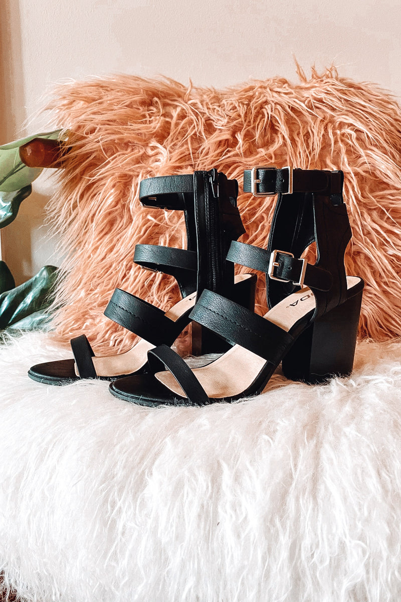Metropolitan Buckle Detail Stacked Heels - Black - Madison and Mallory