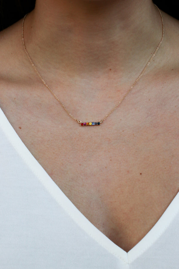 Multi Lost in Paradise Rainbow Bar Necklace - Madison + Mallory