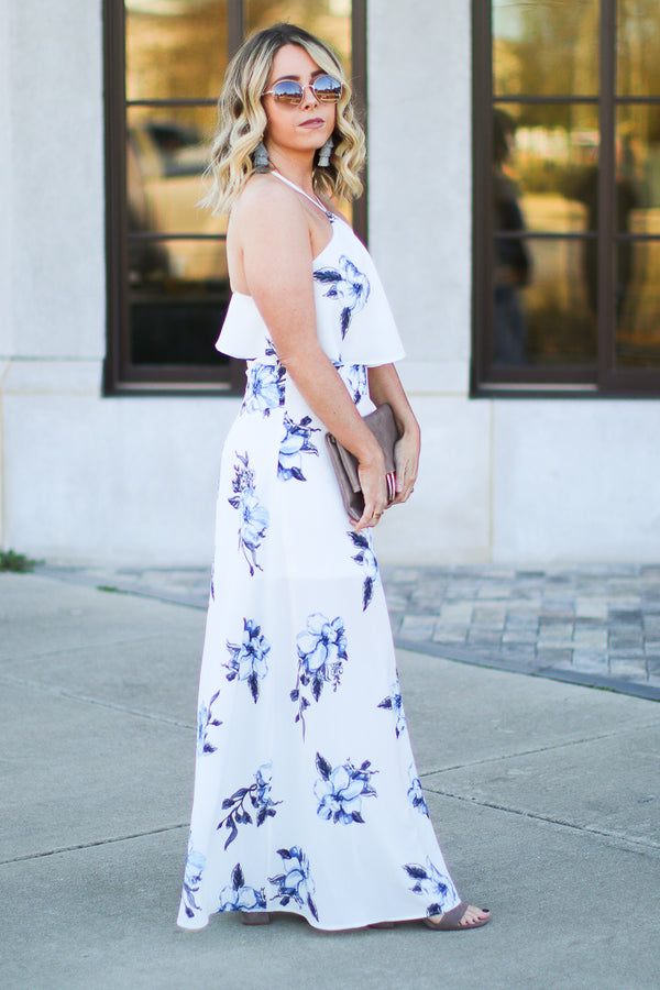 Wonderful World Floral Halter Maxi Dress - Madison + Mallory