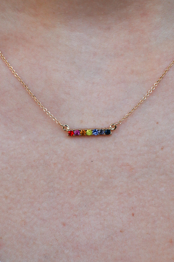 Lost in Paradise Rainbow Bar Necklace - Madison + Mallory
